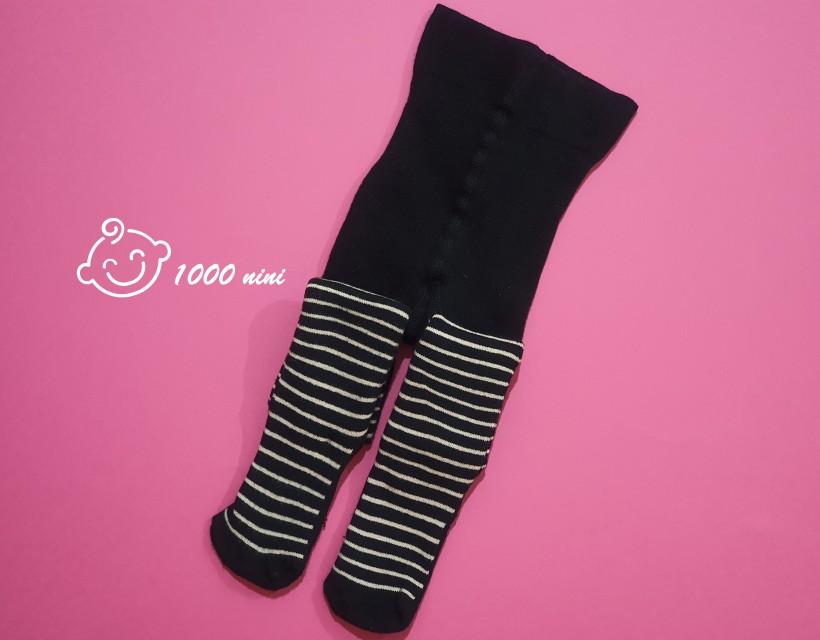 جوراب شلواری تو کرکی راه راه مشکی لوپیلو