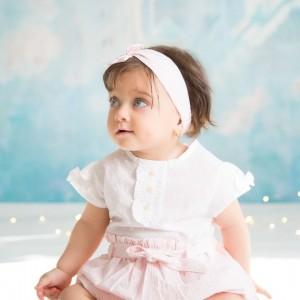 رامپر دخترانه سفید صورتی ایندیگو 19706