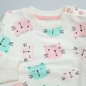 ست بلوز شلوار تمام چاپ گربه آی نور 227