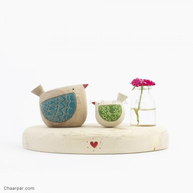 گلدان رو میزی پرنده با جوجه