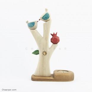 جاشمعی درخت ساده با پرنده و انار