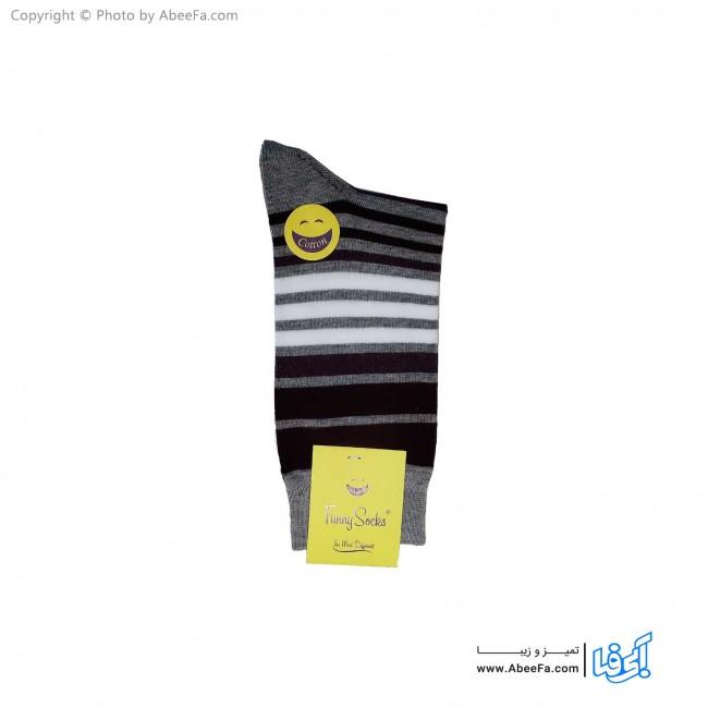 جوراب ساقدار فانی مدل 102 طوسی-عنابی