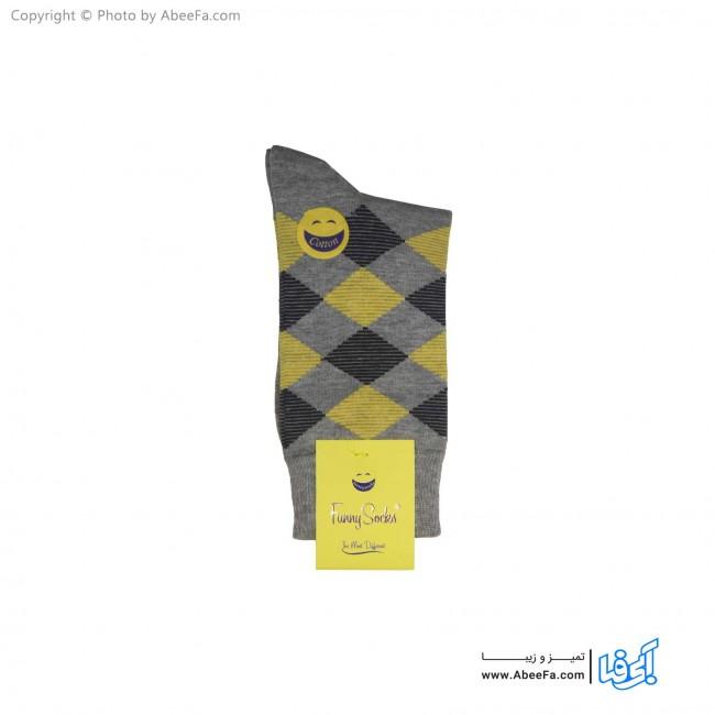 جوراب ساق دار فانی مدل 111 خاکستری-زرد