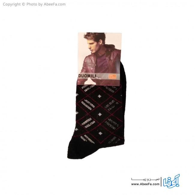 جوراب ساق دار مردانه پشمی مدل AF1479-D مشکی