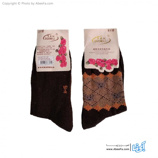 جوراب ساق دار پشمی مدل AF1479-B قهوه ای تیره