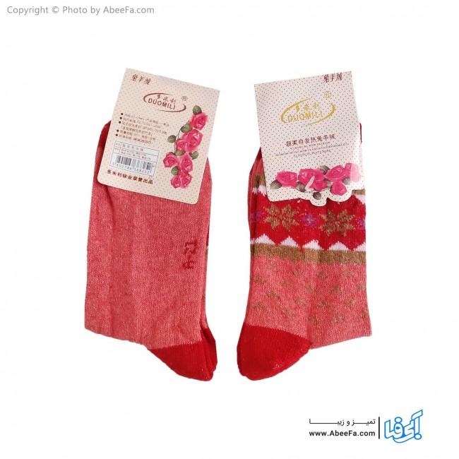 جوراب ساق دار پشمی مدل AF1479-F گلبهی-قرمز