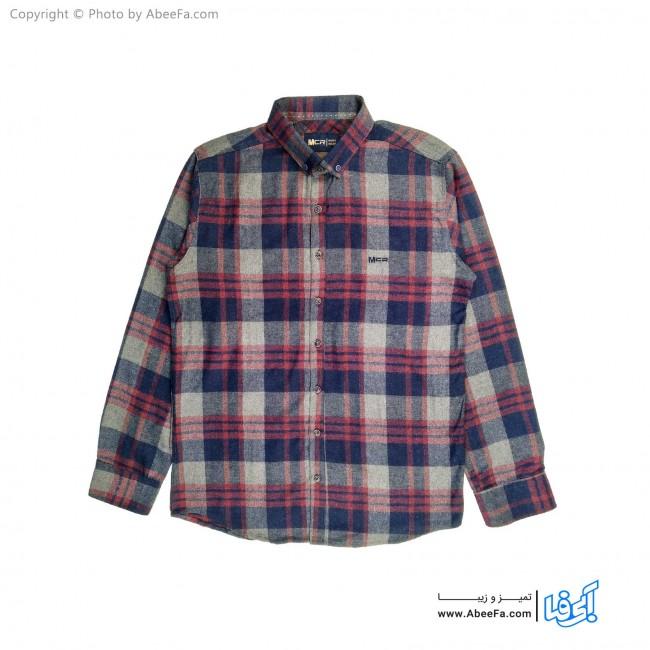 پیراهن مردانه پشمی مدل MCR6R زرشکی سرمه ای