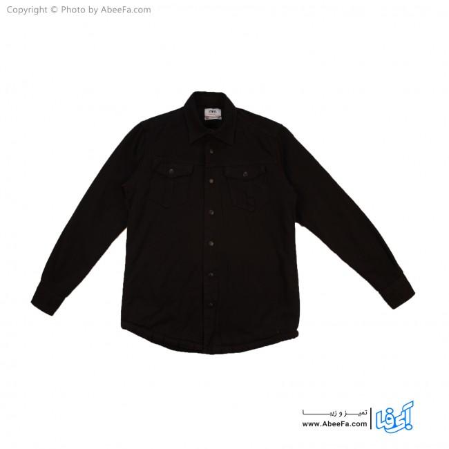 پیراهن جین مردانه داخل خز مدل ZA36B مشکی