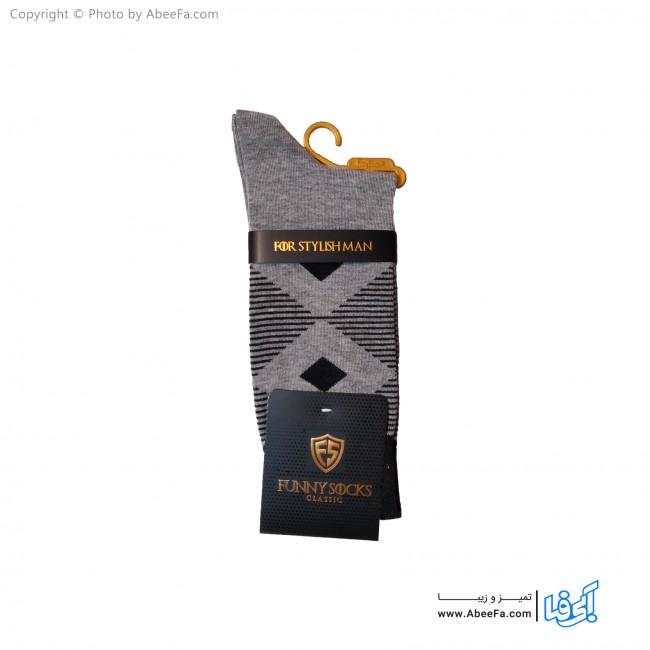 جوراب مردانه ساق دار کلاسیک فانی مدل 10017 طوسی