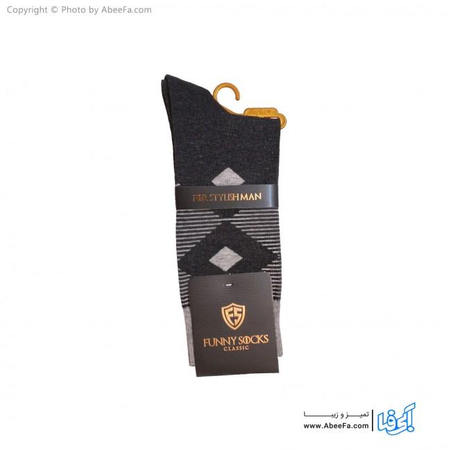 جوراب مردانه ساق دار کلاسیک فانی مدل 10017 دودی-طوسی