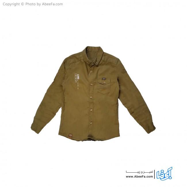 پیراهن کتان پسرانه مدل NGN51KH خاکی