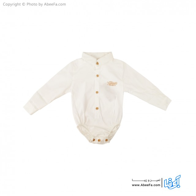 پیراهن  زیر دکمه دار بچگانه مدل NGN1091 سفید