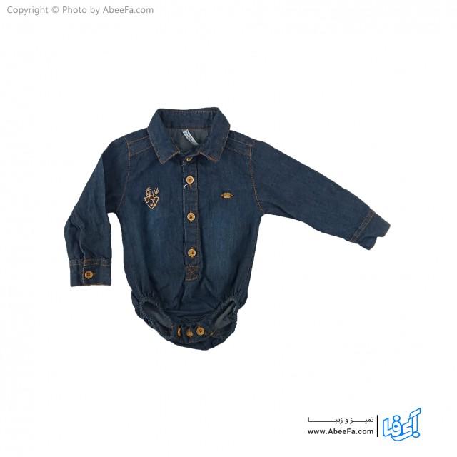 پیراهن جین زیر دکمه دار بچگانه مدل NGN1127-AT