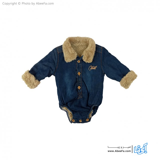 پیراهن جین زیر دکمه دار بچگانه داخل خزدار مدل NGN1224