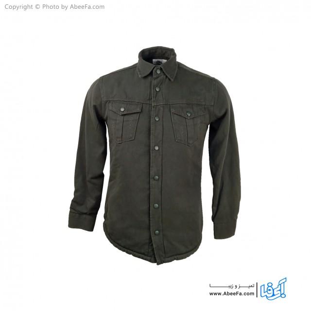 پیراهن جین مردانه داخل خز مدل ZA36D یشمی تیره