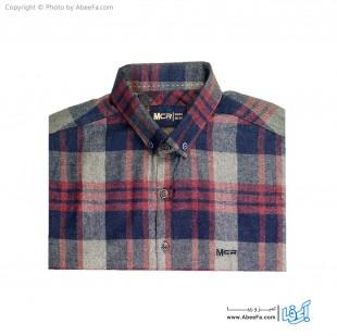 پیراهن مردانه پشمی مدل MCR6R زرشکی ذغالی