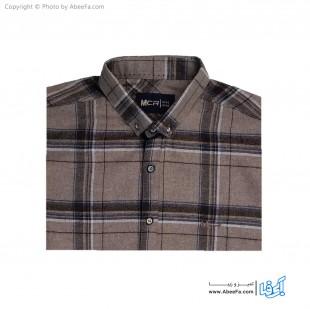 پیراهن مردانه پشمی مدل MCR6K کرم قهوه ای