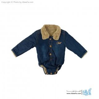 پیراهن جین زیر دکمه دار بچگانه داخل خز مدل NGN1224
