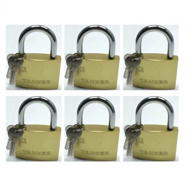 قفل آویز ۷۵ تنسر Tanser بسته ۱۲ عددی کد OSGF-003