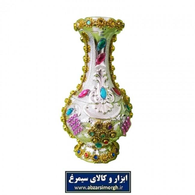 گلدان پلاستیکی نقره ای تزئین شده با نگین ارتفاع ۱۵ سانت HGD-007