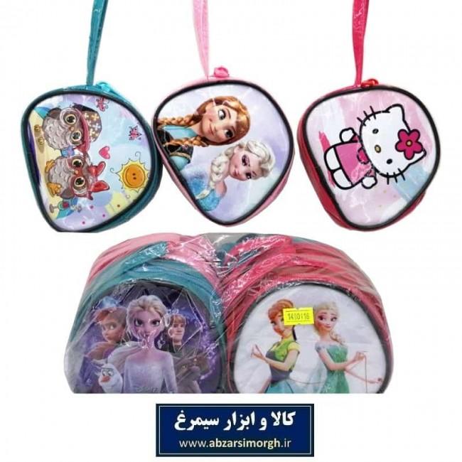 کیف دخترانه ورنی صندوقی کارتونی دسته دار ۱۱ سانت HKF-028