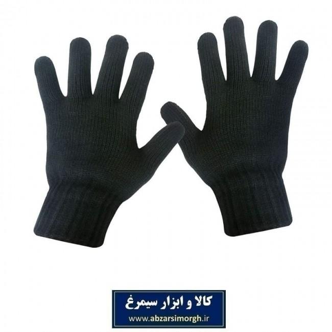 دستکش زمستانی مردانه مشکی بافت بزرگ CDA-001