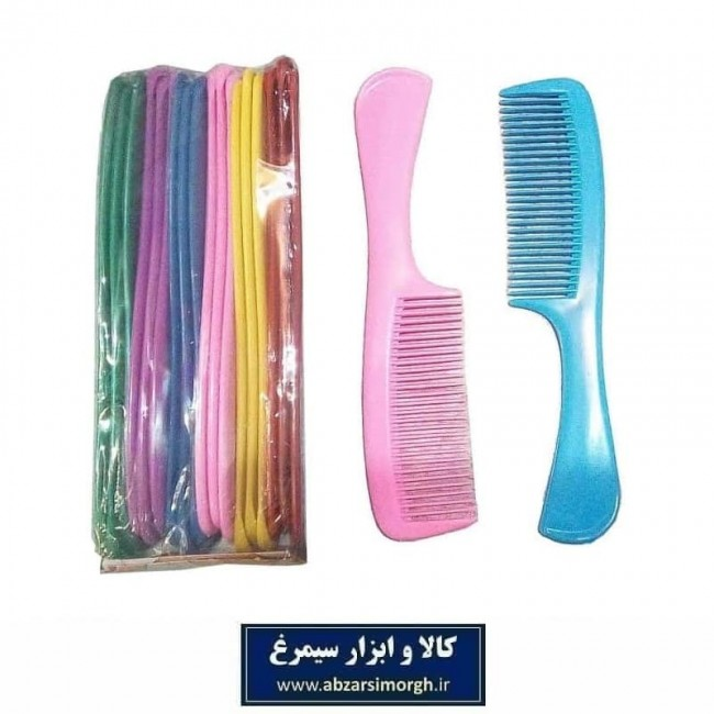 شانه مو دسته دار پلاستیکی یگانه فروش تک و بسته ۱۸ عددی ZBS-003