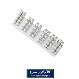 گیره سر انبر فلزی مرواریدی نگین دار ۵ سانت ۲ عددی ZGS-003