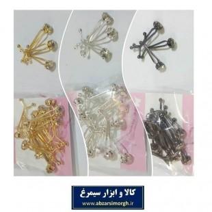 گیره روسری و حجاب دو شاخ نگین دار ۳ سانت ZGR-001