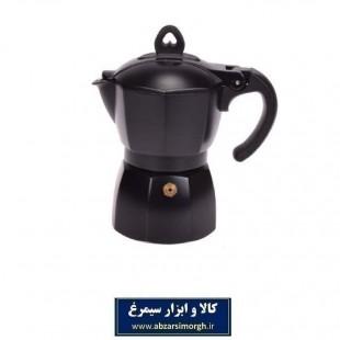 قهوه جوش موکا آلومینیمی مشکی با رنگ کوره ای ۶ کاپ HGJ-008