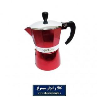 موکاپات قهوه ساز کمر نقره ای ۳ کاپ قرمز HGJ-013