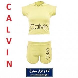 نیم تنه و شلوارک ورزشی زنانه Calvin کلوین فری سایز رنگ کرم
