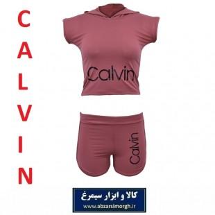 نیم تنه و شلوارک ورزشی زنانه Calvin کلوین فری سایز رنگ پوست پیازی