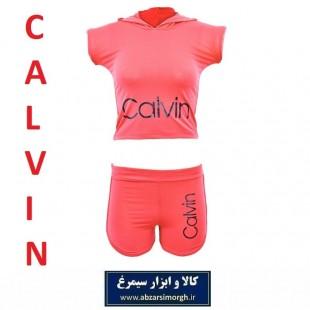 نیم تنه و شلوارک ورزشی زنانه Calvin کلوین فری سایز رنگ نارنجی