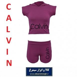 نیم تنه و شلوارک ورزشی زنانه Calvin کلوین فری سایز رنگ بنفش