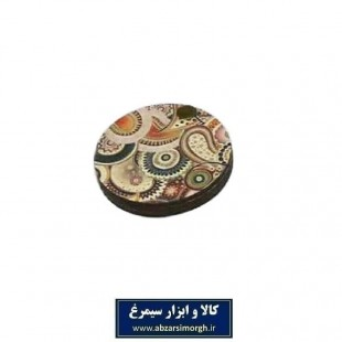 آینه جیبی چوبی گرد طرح سنتی بته جقه فروش تکی و جینی ZAY-011