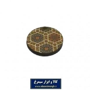 آینه جیبی چوبی گرد طرح سنتی ۶ ضلعی فروش تکی و جینی ZAY-012