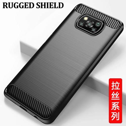 قاب محافظ ژله ای شیائومی Poco X3 Pro Rugged Armor Fiber Carbon