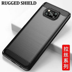 قاب محافظ ژله ای شیائومی Poco X3 Rugged Armor Fiber Carbon