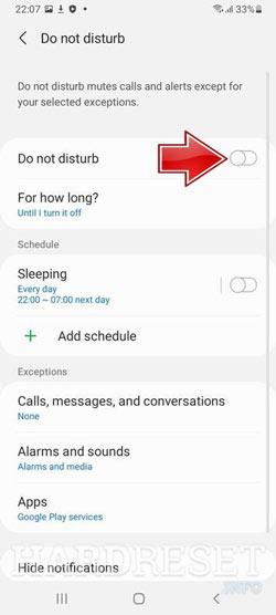 نحوه فعال یا روشن کردن حالت «مزاحم نشوید» در گوشی Galaxy A32 5G