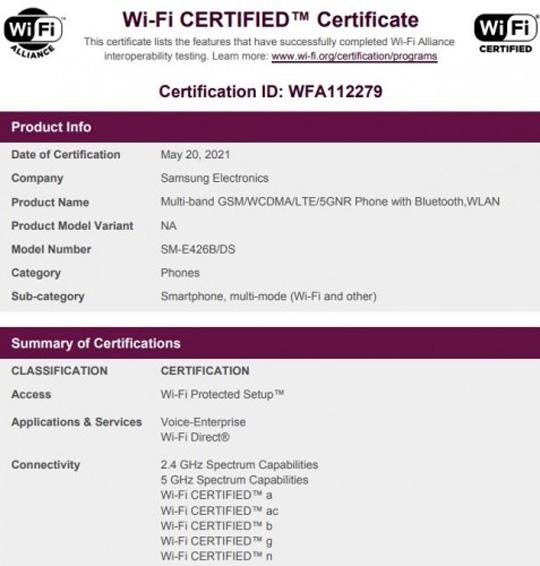 تأییدیه وای-فای گوشی Samsung Galaxy F42 5G