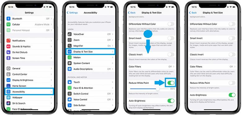 خاموش کردن تنظیم خودکار نور صفحه در آیفون 12