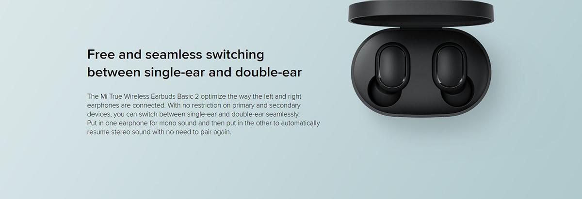 هدفون Mi True Wireless Earbuds Basic 2 با قابلیت استفاده تکی و دوتایی از هدفون ها