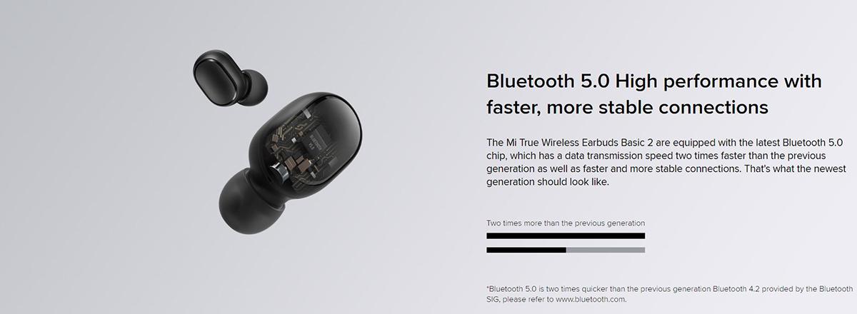 هدفون Mi True Wireless Earbuds Basic 2 مجهز به بلوتوث 5.0