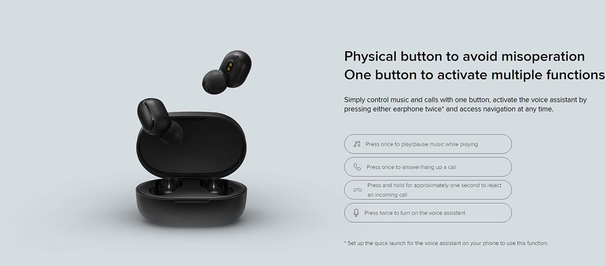 هدفون Mi True Wireless Earbuds Basic 2، مجهز به یک دکمه با کاربردهای مختلف