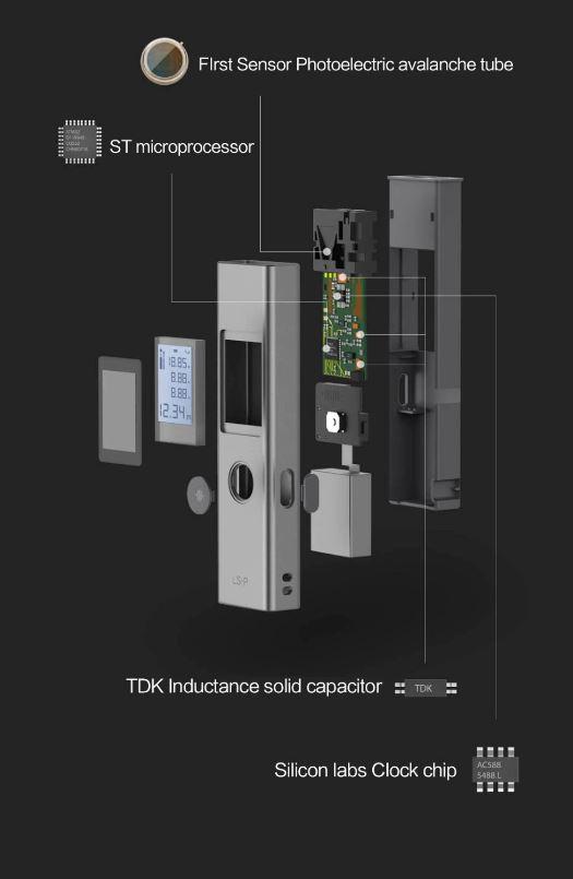 متر لیزری شیائومی ATuMan LS-P مجهز به لوله نزولی با حسگر فوتوالکتریک