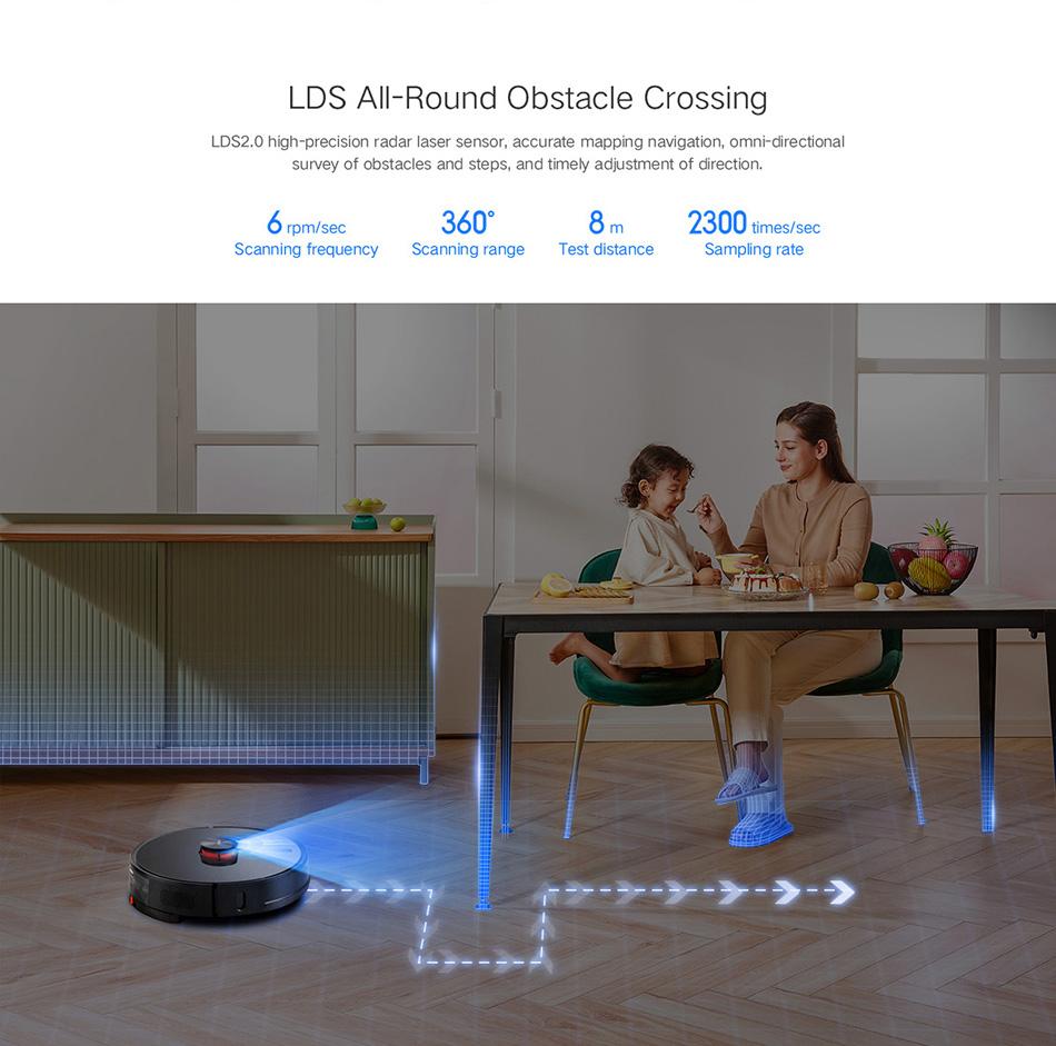 سیستم عبور از موانع LDSجاروبرقی رباتی هوشمند شیائومی مدل Lydsto R1