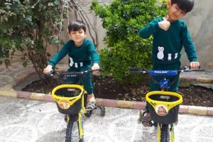 امیررضا و امیرطاها ۵ ساله و دوچرخه هایشان از ایوان ایلام