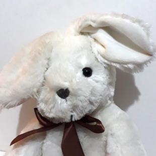 عروسک پولیشی خارجی خرگوش سفید مدل پاپیون دار