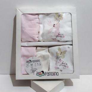 ست ۵ تکه بیمارستانی نوزاد برند Panolino مدل پروانه ای صورتی